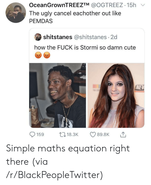 How The Fuck: OceanGrownTREEZTM @OGTREEZ 15h  The ugly cancel eachother out like  PEMDAS  shitstanes @shitstanes 2d  how the FUCK is Stormi so damn cute  NEW  L18.3K  89.8K  159 Simple maths equation right there (via /r/BlackPeopleTwitter)
