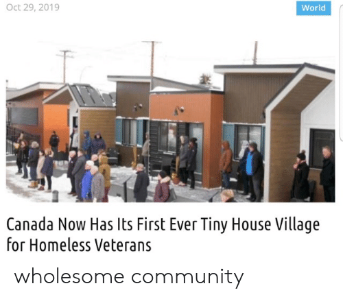 village: Oct 29, 2019  World  Canada Now Has Its First Ever Tiny House Village  for Homeless Veterans wholesome community