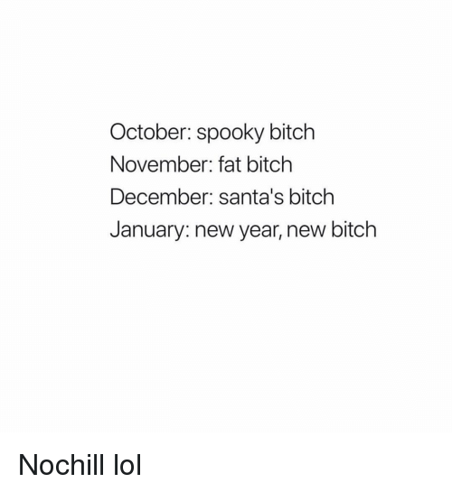 Bitch, Funny, and Lol: October: spooky bitch  November: fat bitch  December: santa's bitch  January: new year, new bitch Nochill lol
