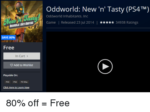 "Ps4, Free, and Game: Oddworld: New 'n' Tasty (PS4TM)  Oddworld Inhabitants.Inc  ABE""S111TSEt  Game 1 Released 23 Jul 2014 
