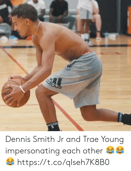 Memes, 🤖, and Each Other: Odiads Dennis Smith Jr and Trae Young impersonating each other 😂😂😂 https://t.co/qIseh7K8B0