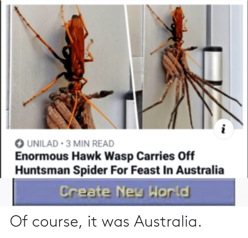 Australia: Of course, it was Australia.
