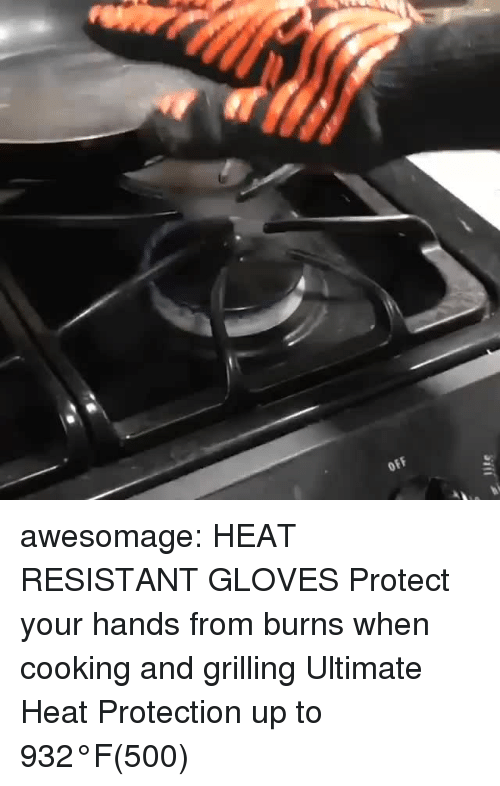 Tumblr, Blog, and Heat: OFF awesomage: HEAT RESISTANT GLOVES Protect your hands from burns when cooking and grilling Ultimate Heat Protection up to 932°F(500℃)