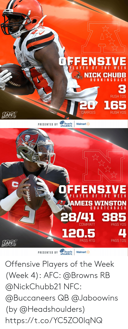 wee: OFFENSIVE  SEANO  PLAYER OF THE WEE K  NICK CHUBB  RUNNING BACK  OTBALL LEAGUE  C3  RUSH TDS  20 165  CARRIES  RUSH YDS  NFL  PRESENTED BY head&  shoulders  Walmart   OFFENSIVE  PLAYER OF THE WEEK  JAMEIS WINSTON  QUARTERBACK  28/41 385  COMP/ATT  PASS YDS  4  120.5  PASS RTG  PASS TDS  NFL  PRESENTED BY head&  shoulders  Walmart  AA Offensive Players of the Week (Week 4):  AFC: @Browns RB @NickChubb21  NFC: @Buccaneers QB @Jaboowins    (by @Headshoulders) https://t.co/YC5ZO0lqNQ