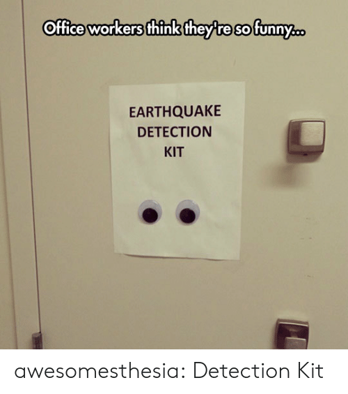 Tumblr, Blog, and Earthquake: Office workers think they re sofunny.  EARTHQUAKE  DETECTION  KIT awesomesthesia:  Detection Kit