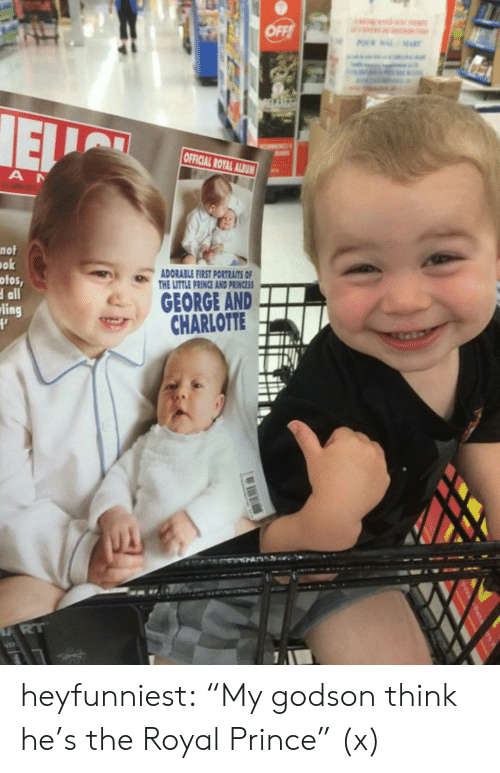 """godson: OFFICIAL ROYAL ALAN!  nof  ok  ofos,  all  ADORABLE FIRST PORTRAITS OF  THE LITTLE PRINCE AND PRINCESS  GEORGE AND  CHARLOTTE  ling heyfunniest:  """"My godson think he's the Royal Prince"""" (x)"""