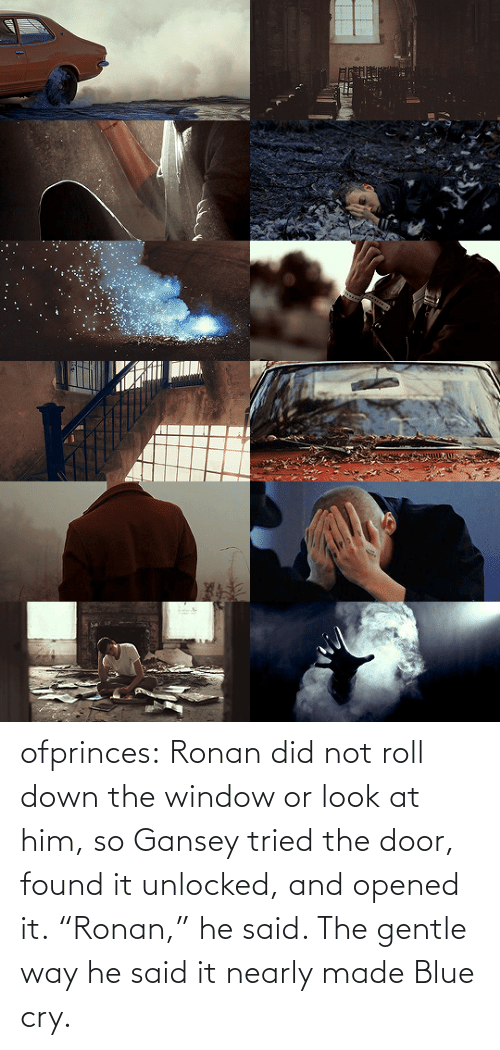 "roll: ofprinces: Ronan did not roll down the window or look at him, so Gansey tried the door, found it unlocked, and opened it. ""Ronan,"" he said. The gentle way he said it nearly made Blue cry."