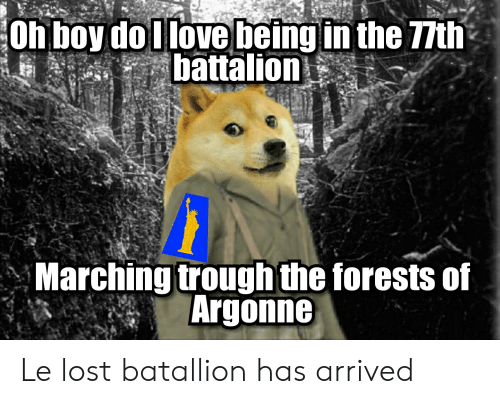 Lost, History, and Boy: Oh boy do llovebeing in the 77th  battalion  Marching trough the forests of  Argonne Le lost batallion has arrived