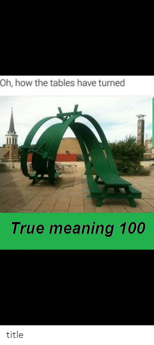 True, Meaning, and How: Oh, how the tables have turned  0  True meaning 100  OPP title