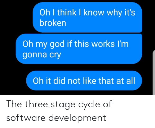 Cycle: Oh I think I know why it's  broken  Oh my god if this works I'm  gonna cry  Oh it did not like that at all The three stage cycle of software development