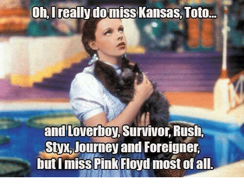 styx: Oh, Ireally domiss Kansas, Toto...  and Loverboy,Survivor Rush,  Styx Journey and Foreigner,  but I miss Pink Floyd most of all.