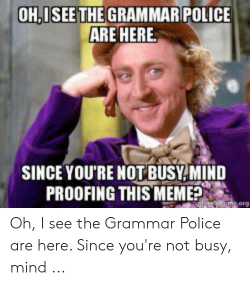 Grammar Police Meme: OH,ISEE THE GRAMMAR POLICE  ARE HERE  SINCE YOU'RE NOT BUSY MIND  PROOFING THIS MEME?  me orge Oh, I see the Grammar Police are here. Since you're not busy, mind ...
