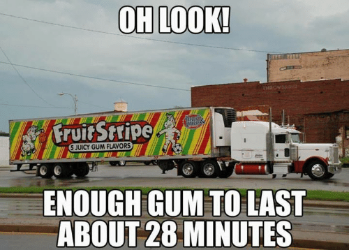Juicy: OH LOOK!  THROW  Fruit Stripe  5 JUICY GUM FLAVORS  ENOUGH GUM TO LAST  ABOUT 28 MINUTES