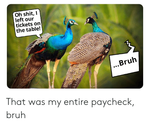 Bruh, Reddit, and Table: Oh shit, I  left our  tickets on  the table!  ...Bruh That was my entire paycheck, bruh