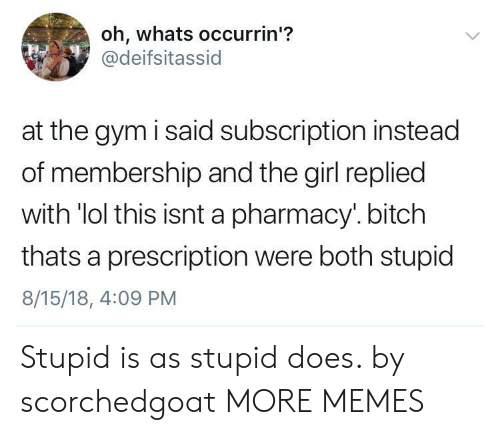 Bitch, Dank, and Gym: oh, whats occurrin'?  @deifsitassid  at the gym i said subscription instead  of membership and the girl replied  with 'lol this isnt a pharmacy.bitch  thats a prescription were both stupid  8/15/18, 4:09 PM Stupid is as stupid does. by scorchedgoat MORE MEMES
