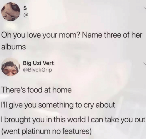 platinum: Oh you love your mom? Name three of her  albums  Big Uzi Vert  @BlvckGrip  There's food at home  Il give you something to cry about  I brought you in this world I can take you out  (went platinum no features)  S
