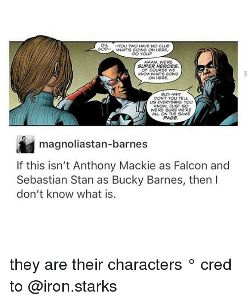 Ironic, Memes, and Stan: OH, yoU TWO HAVE NO CLUE  GOWHATS GOING ON HERE  MAAM, WE'RE  SUPER HEROES  OF CoURSE WE  KNOW WHATS COING  ON HERE  BUT--WHY  DONT YOU TELL  US EVERYTHING YOU  KNOW, JUST SO  WE'RE SURE WE'RE  ALL ON THE SAME  PAGE  magnoliastan-barnes  If this isn't Anthony Mackie as Falcon and  Sebastian Stan as Bucky Barnes, then l  don't know what is.  8 they are their characters ° 《cred to @iron.starks 》