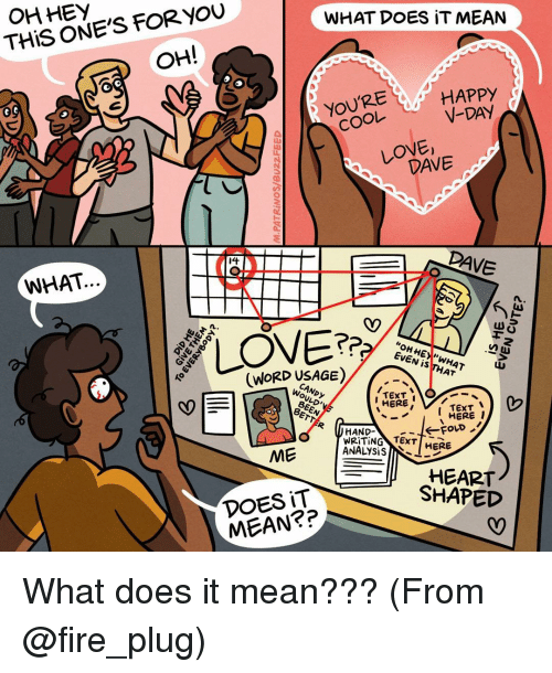 Memes, Texting, and Rave: OHHEY  FOR YOU  THIS ONE'S WHAT DOES IT MEAN  OH!  HAPPy  COOL  V-DAY  t  LOVE,  DANE  sba RAVE  WHAT  EVEN  IS  (WORD USAGE)  AT  TEXT  HERE  TEXT  HERE  I  HAND  WRITING TEXT  ANALYSIS  HERE  ME  HEART  SHAPED  DOES IT What does it mean??? (From @fire_plug)