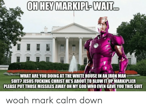 Markipl: OHHEY MARKIPL-WAIT  WHAT ARE YOU DOING AT THE WHITE HOUSE IN AN IRON MAN  SUIT?JESUS FUCKING CHRIST HE'S ABOUT TO BLOW IT UP MARKIPLIER  PLEASE PUT THOSE MISSILES AWAY OH MY GOD WHO EVEN GAVE YOU THIS SUIT woah mark calm down