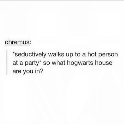 Seductively: ohrenmus:  seductively walks up to a hot person  at a party so what hogwarts house  are you in?