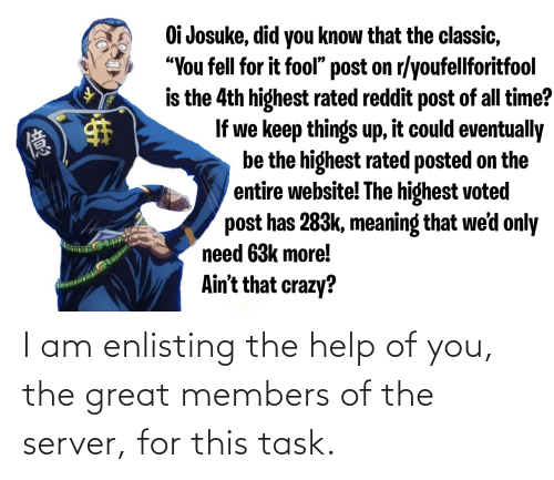 Oi Josuke Did You Know That The Classic You Fell For It Fool Post
