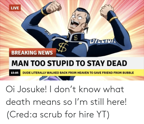 hire: Oi Josuke! I don't know what death means so I'm still here! (Cred:a scrub for hire YT)