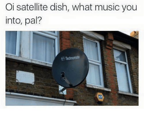 Oi Satellite Dish What Music You Into Pal? Technomate