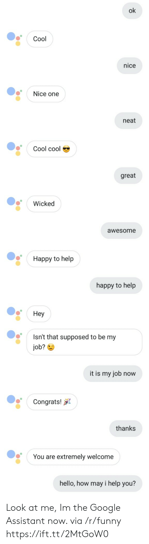 How May I Help You: ok  Cool  nice  Nice one  neat  Cool cool  great  Wicked  awesome  Happy to help  happy to help  Hey  Isn't that supposed to be my  job?  it is my job now  Congrats!  thanks  You are extremely welcome  hello, how may i help you? Look at me, Im the Google Assistant now. via /r/funny https://ift.tt/2MtGoW0