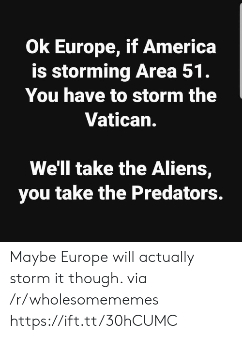 predators: Ok Europe, if America  is storming Area 51.  You have to storm the  Vatican.  We'll take the Aliens,  you take the Predators. Maybe Europe will actually storm it though. via /r/wholesomememes https://ift.tt/30hCUMC