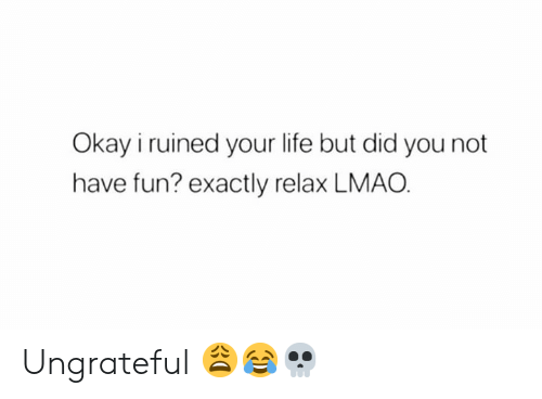 ungrateful: Okay i ruined your life but did you not  have fun? exactly relax LMAO Ungrateful 😩😂💀