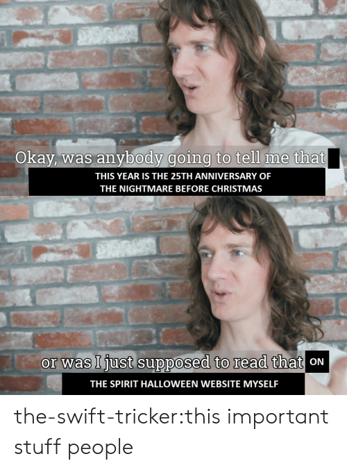 Christmas, Halloween, and Tumblr: Okay, was anybody going to tell me that  THIS YEAR IS THE 25TH ANNIVERSARY OF  THE NIGHTMARE BEFORE CHRISTMAS   or was Ijust supposed to read that  oN  THE SPIRIT HALLOWEEN WEBSITE MYSELF the-swift-tricker:this important stuff people
