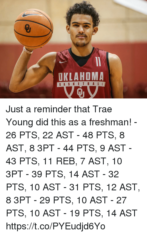 Memes, Oklahoma, and 🤖: OKLAHOMA  Qj Just a reminder that Trae Young did this as a freshman!  - 26 PTS, 22 AST - 48 PTS, 8 AST, 8 3PT - 44 PTS, 9 AST  - 43 PTS, 11 REB, 7 AST, 10 3PT - 39 PTS, 14 AST - 32 PTS, 10 AST  - 31 PTS, 12 AST, 8 3PT - 29 PTS, 10 AST - 27 PTS, 10 AST - 19 PTS, 14 AST https://t.co/PYEudjd6Yo