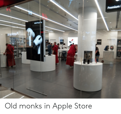 Apple Store: Old monks in Apple Store