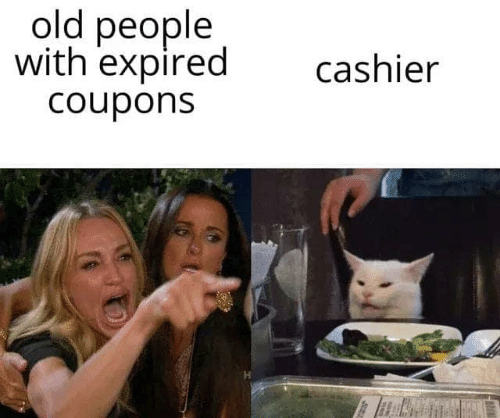 Old People, Old, and People: old people  with expired  Coupons  cashier