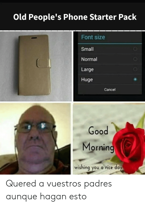 Starter Pack: Old People's Phone Starter Pack  Font size  Small  Normal  Large  Huge  Cancel  Good  Morning  wishing you a nice day  OOO Quered a vuestros padres aunque hagan esto