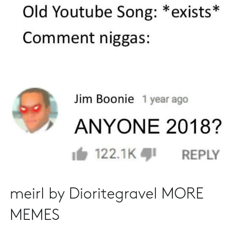 Commenter: Old Youtube Song: *exists*  Comment niggas:  Jim Boonie 1 year ago  ANYONE 2018?  122.1KREPLY meirl by Dioritegravel MORE MEMES
