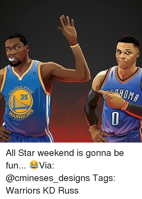 all star weekend: OLDEN  STAT  ARRIO All Star weekend is gonna be fun... 😂Via: @cmineses_designs Tags: Warriors KD Russ