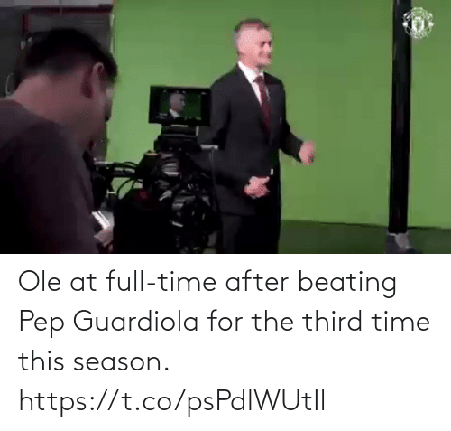 beating: Ole at full-time after beating Pep Guardiola for the third time this season. https://t.co/psPdlWUtIl
