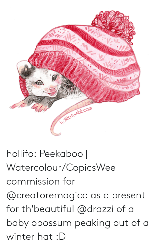 Tumblr, Wee, and Winter: ollifo.tumbilr.com hollifo:  Peekaboo | Watercolour/CopicsWee commission for @creatoremagico as a present for th'beautiful @drazzi of a baby opossum peaking out of a winter hat :D