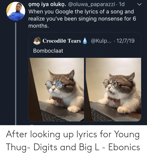 Lyrics: omọ iya oluko. @oluwa_paparazzi · 1d  When you Google the lyrics of a song and  realize you've been singing nonsense for 6  months.  @Kulp... · 12/7/19  Crocodile Tears  Bomboclaat After looking up lyrics for Young Thug- Digits and Big L - Ebonics