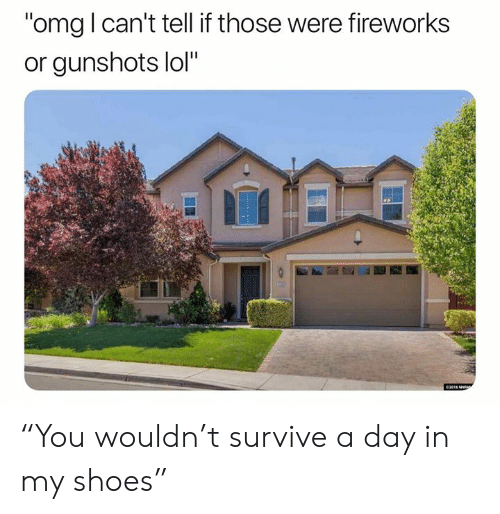 "Lol, Omg, and Shoes: ""omg l can't tell if those were fireworks  or gunshots lol""