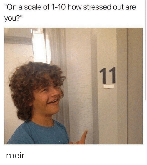 """1 10: """"On a scale of 1-10 how stressed out are  you?""""  11 meirl"""
