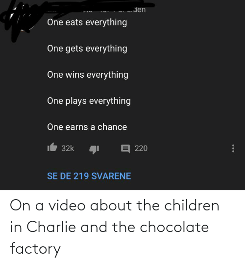Charlie: On a video about the children in Charlie and the chocolate factory