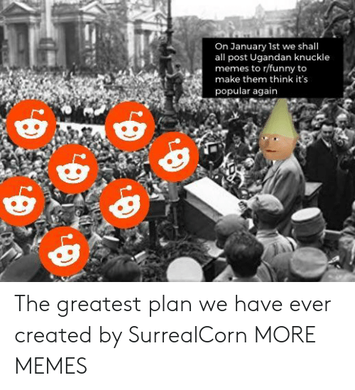 R Funny: On January 1st we shall  all post Ugandan knuckle  memes to r/funny to  make them think it's  popular again The greatest plan we have ever created by SurrealCorn MORE MEMES