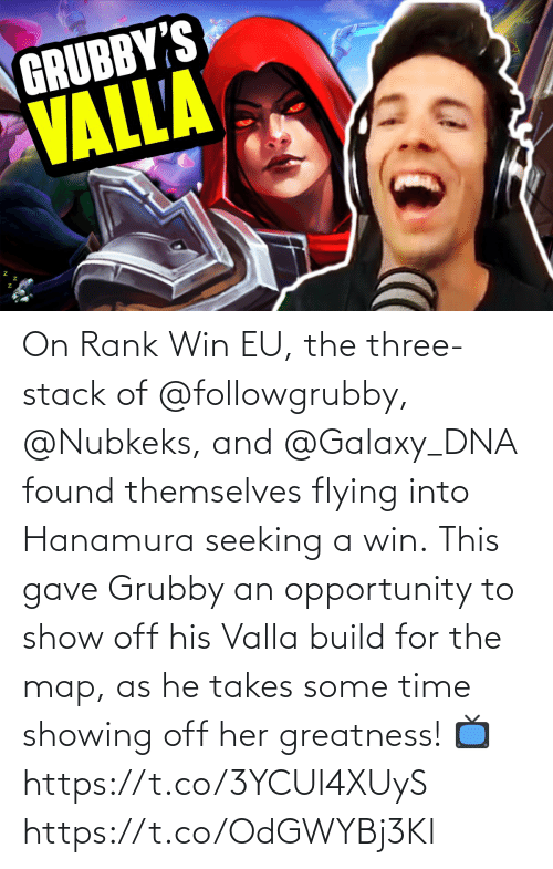 Found: On Rank Win EU, the three-stack of @followgrubby, @Nubkeks, and @Galaxy_DNA found themselves flying into Hanamura seeking a win.  This gave Grubby an opportunity to show off his Valla build for the map, as he takes some time showing off her greatness!  📺https://t.co/3YCUI4XUyS https://t.co/OdGWYBj3Kl
