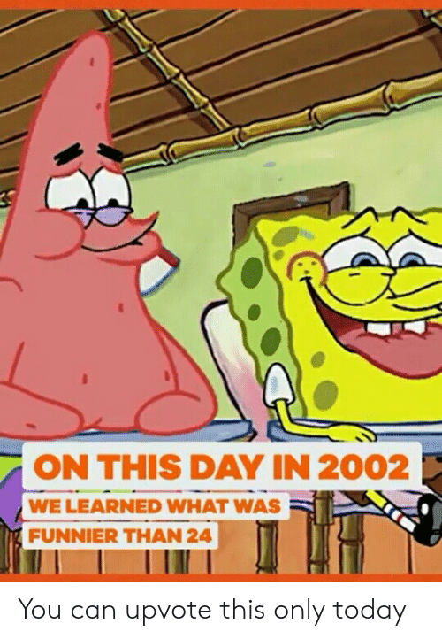 on this day: ON THIS DAY IN 2002  WE LEARNED WHAT WAS  FUNNIER THAN 24 You can upvote this only today