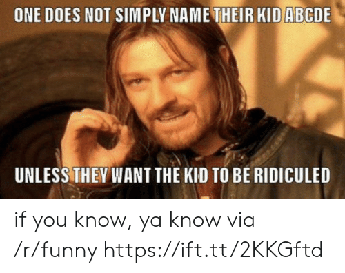 Funny, One, and Via: ONE DOES NOT SIMPLY NAME THEIR KID ABCDE  UNLESS THEY WANT THE KID TO BE RIDICULED if you know, ya know via /r/funny https://ift.tt/2KKGftd