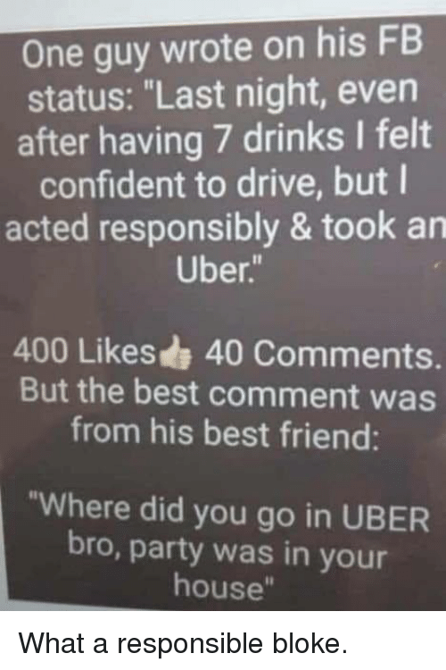 """Best Comment: One guy wrote on his FB  status: """"Last night, even  after having 7 drinks I felt  confident to drive, but l  acted responsibly & took an  Uber  400 Likes 40 Comments.  But the best comment was  from his best friend:  """"Where did you go in UBER  bro, party was in your  house"""" What a responsible bloke."""