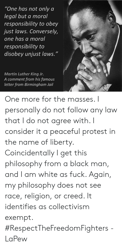 """one has a moral responsibility to disobey unjust laws: """"One has not only a  legal but a moral  responsibility to obey  just laws. Conversely,  one has a moral  responsibility to  disobey unjust laws.""""  Martin Luther King Jr.  A comment from his famous  letter from Birmingham Jail One more for the masses. I personally do not follow any law that I do not agree with. I consider it a peaceful protest in the name of liberty. Coincidentally I get this philosophy from a black man, and I am white as fuck. Again, my philosophy does not see race, religion, or creed. It identifies as collectivism exempt. #RespectTheFreedomFighters -LaPew"""