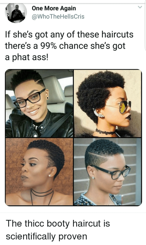 phat: One More Again  @WhoTheHellsCris  If she's got any of these haircuts  there's a 99% chance she's got  a phat ass! The thicc booty haircut is scientifically proven
